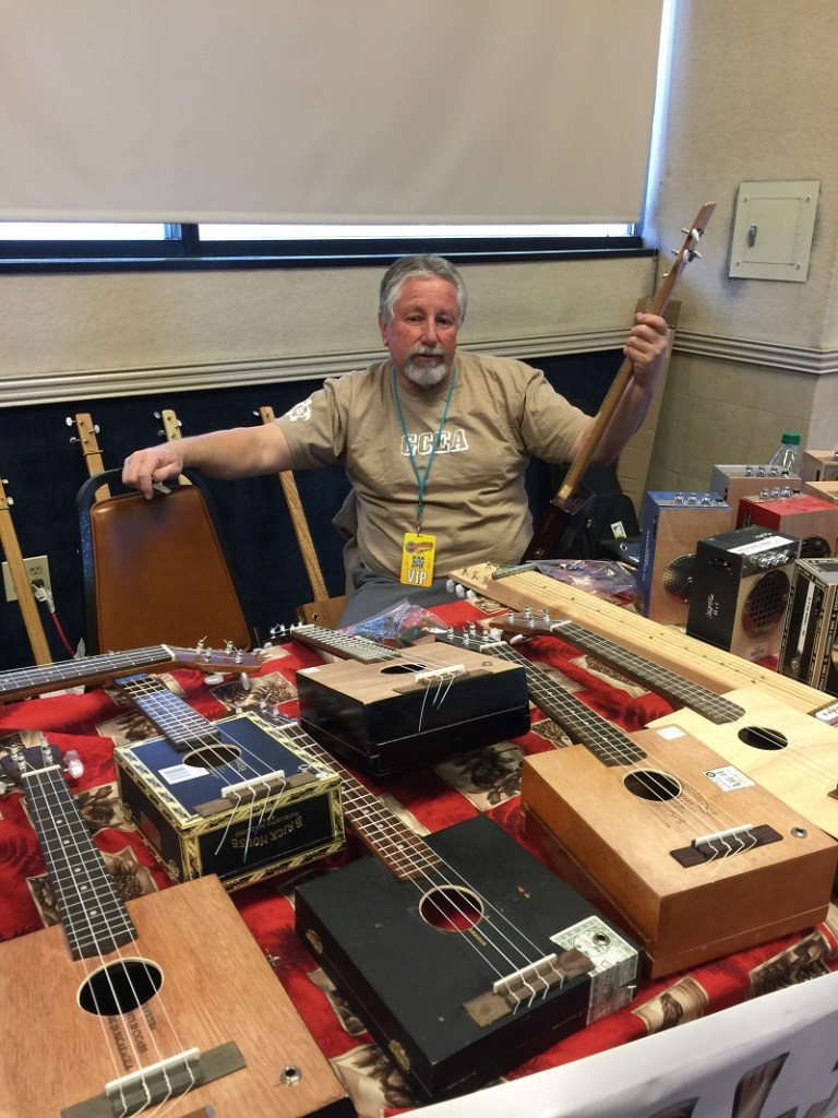 Uncle Joe showed off his cigar box ukuleles, made from real cigar boxes, and matching amps.