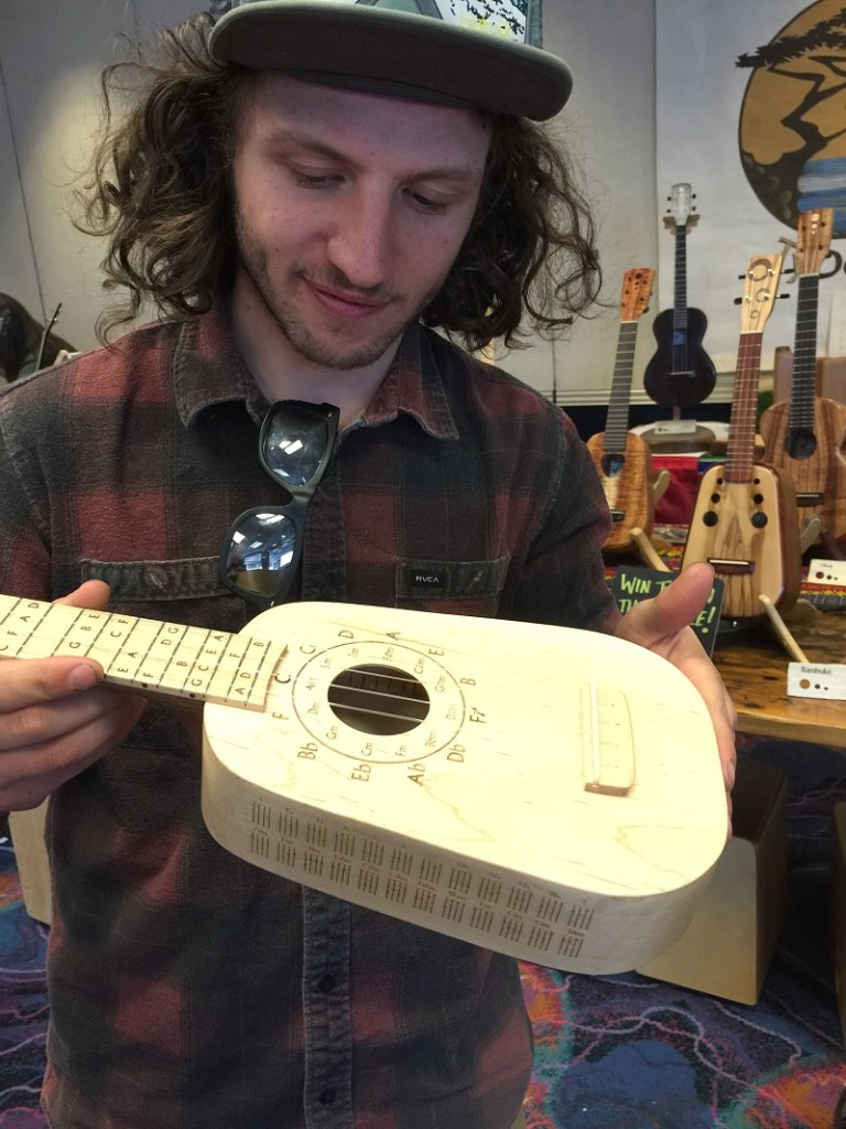 Julian Sander of TyDe Music showed us this groovy Learner uke, which has note names, a Circle of Fifths, and a chord chart laser engraved into the uke.