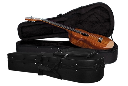 Soft-shell cases, like this Guardian Featherweight baritone case, combine some features of hard-shell cases and gig bags.