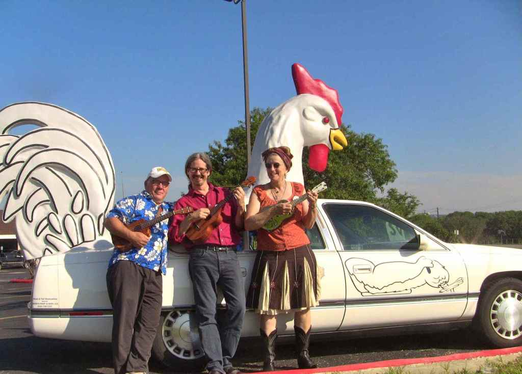 This year's instructors couldn't resist a chicken car photo-op.