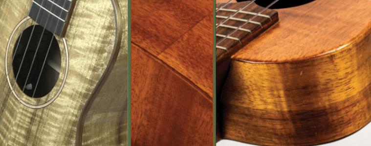 Three different ukulele close-ups showing different tonewoods including myrtle, mahogany and koa