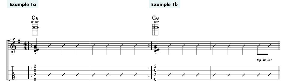 CASEY MACGILL Swing Ukulele Rhythm Ex 1a-b