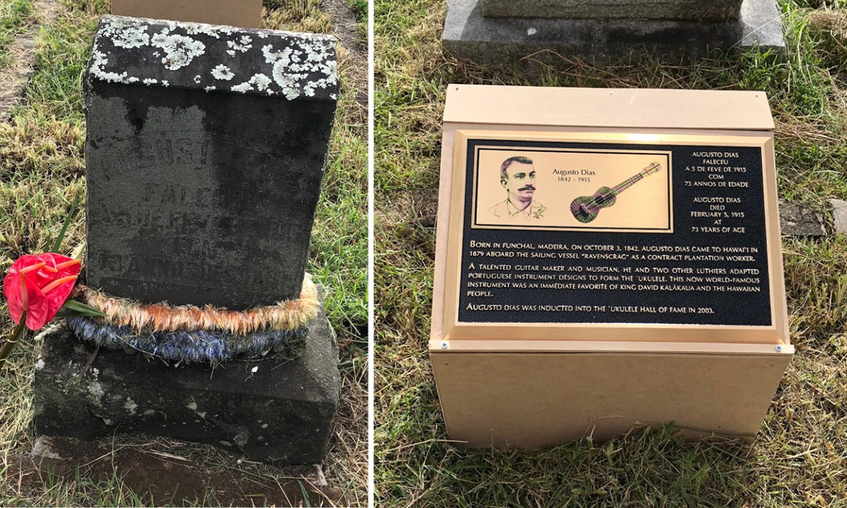 New Grave Marker for the Earliest Known Ukulele Builder before after
