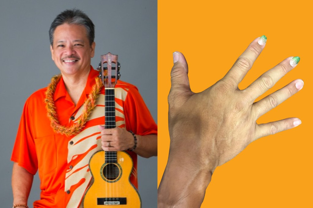 picking hands of ukulele player bryan tolentino