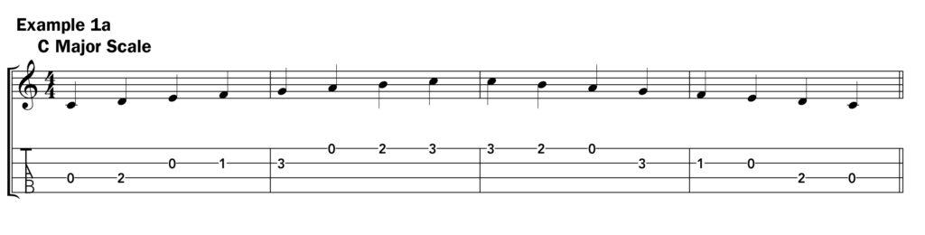 Basic ukulele technique music notation example 1a C scale