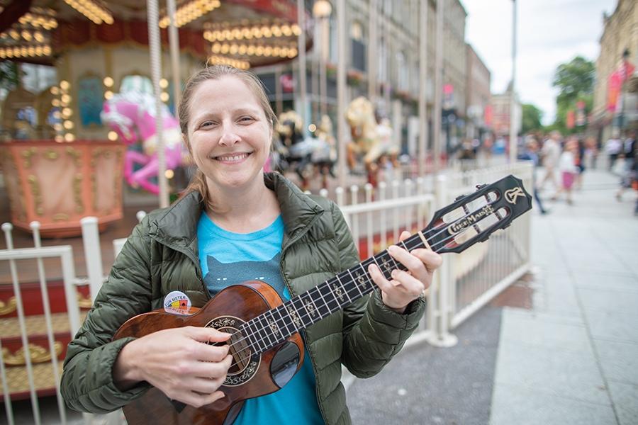Ukulele player Sarah Maisel
