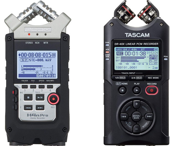 Zoom h4 and Tascam d40x