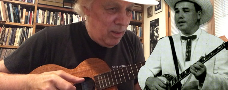 Fred Sokolow and Earl Scruggs photos, Ukulele lesson Earl Scruggs-Style Banjo Rolls