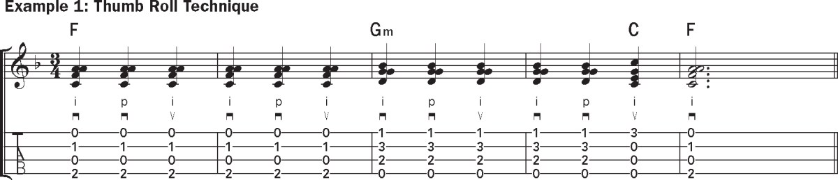 Geroge Formby ukulele lesson thumb roll technique music notation example 1