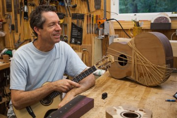 Ukulele builder Jay Lichty in his workshop