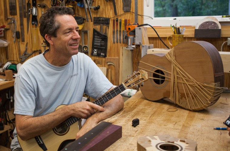 Ukulele builder Jay Lichty in his workshop