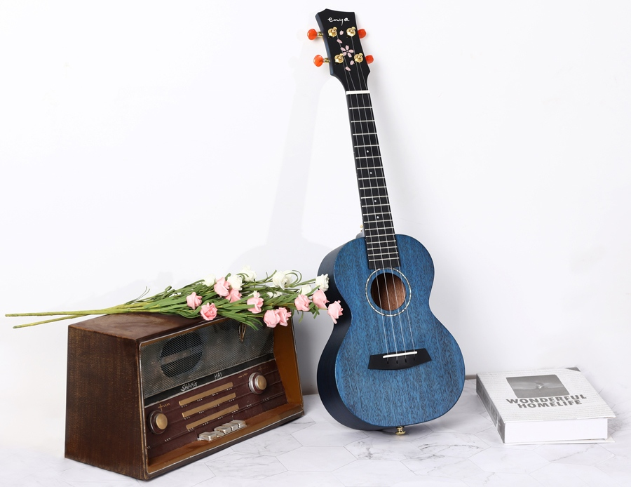 Blue Enya uke posed upright with a vintage radio and bouquet of pink flowers