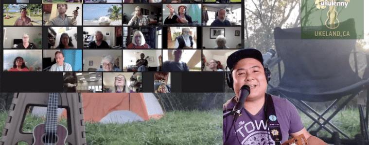 ukulenny hosting a zoom group ukulele session