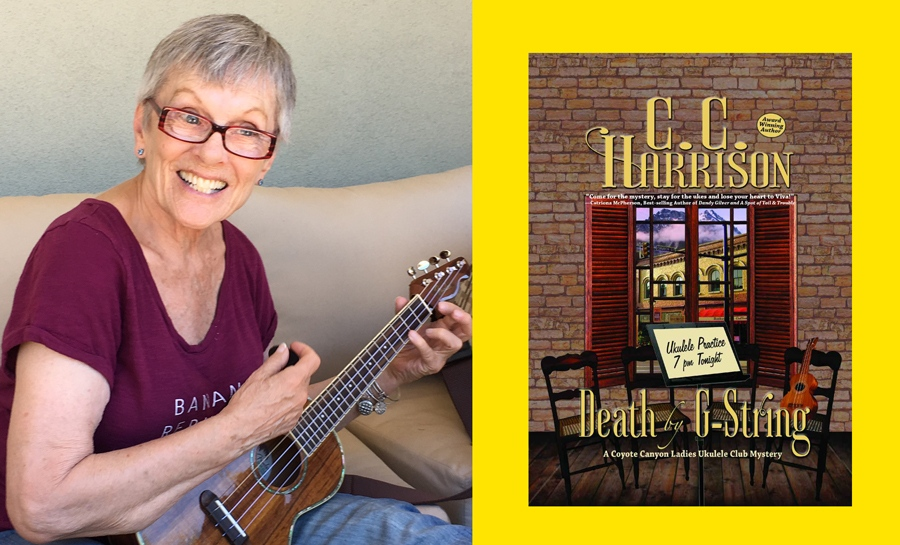 """Author CC Harrison and her ukulele mystery novel """"Death by G String"""""""