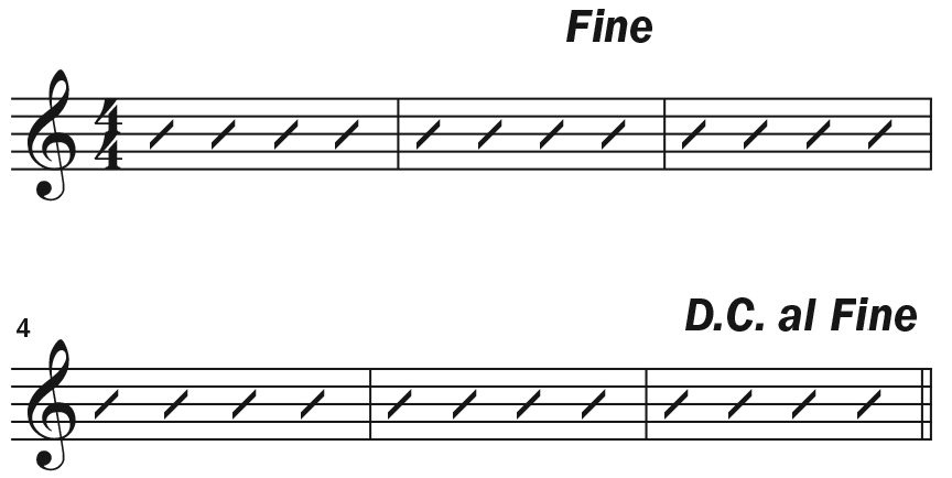 ukulele musical notation examples for Fine and D.C. al Fine