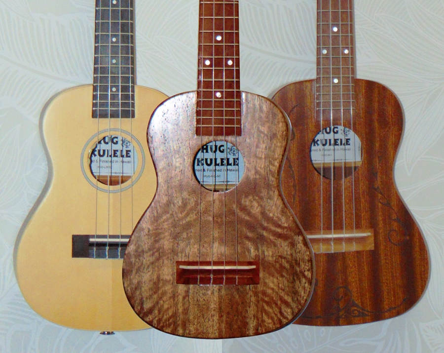 Spruce-top concert, solid mango super-concert, and solid mahogany tenor ukuleles from Hawaiian Ukulele & Guitar