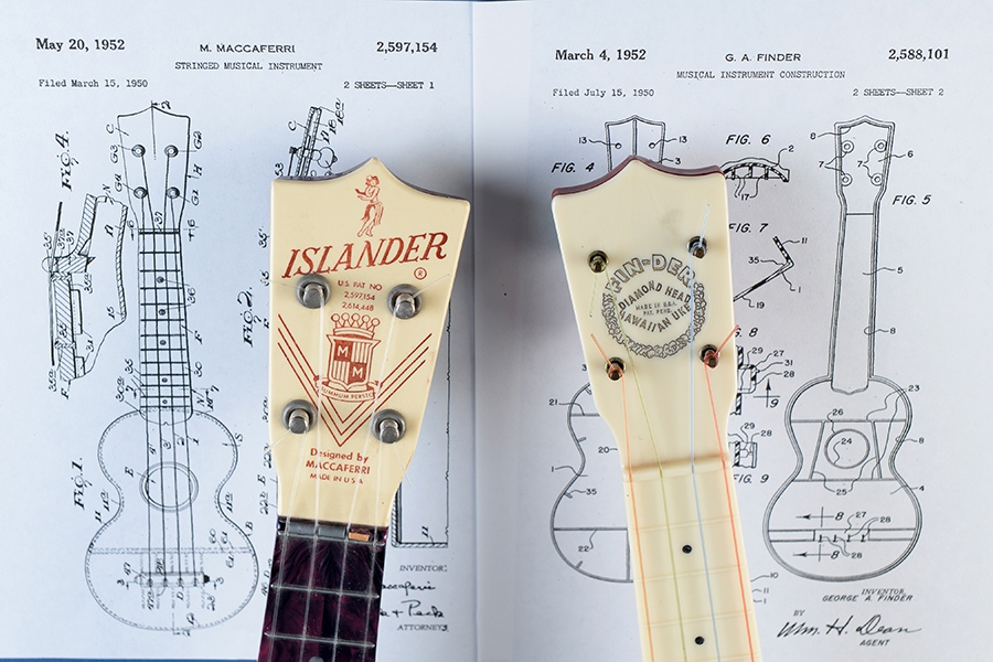 Dueling plastic ukes by Maccaferri and Finder.