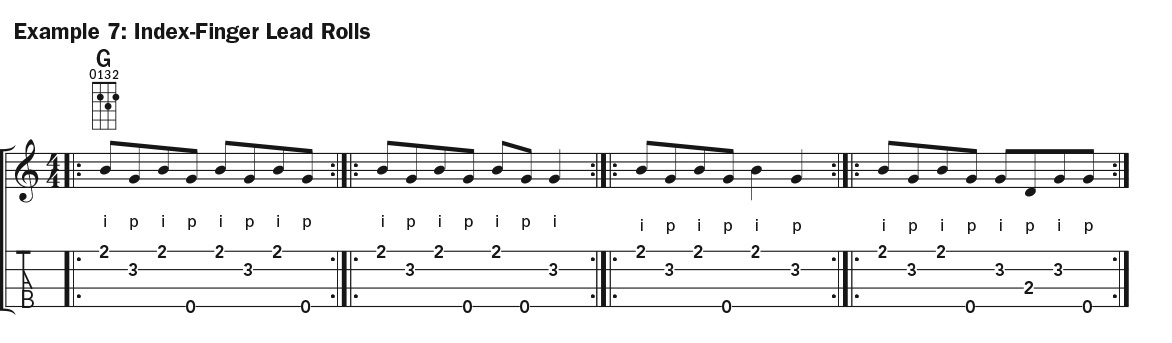 Two-Finger Picking (Double Thumbing) ukulele lesson music notation example 7