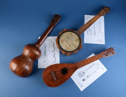 """Turturro's """"peanut"""" uke, Harmony's Valencia banjo uke, and Lyon & Healy's paddle-shaped Venetian"""