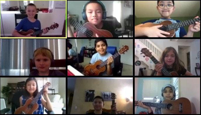 kids playing ukulele on zoom