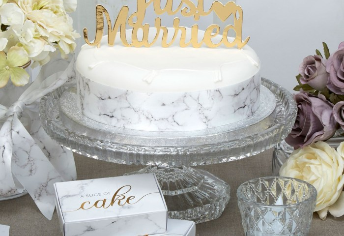 Just Married Cake Topper Gold Uk Wedding Favours