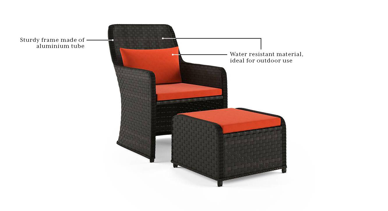bentham patio chair and footstool