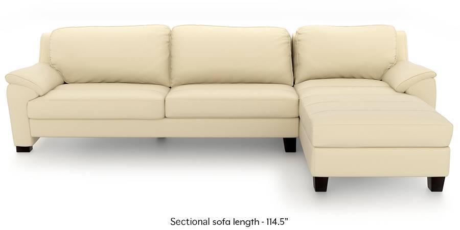 farina half leather sectional sofa cream italian leather left aligned 3 seater chaise