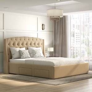 aspen upholstered storage bed king bed size beige
