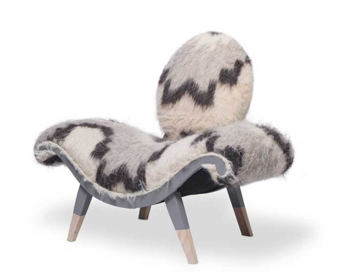 Viking chair by Ulloo42. The cover is a repurposed mohair-and-wool rug and the legs are hand painted.