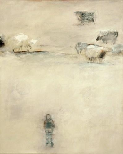 Landschaft mit Schafen | 2008 | Acryl auf Leinwand | 100 x 80 cm
