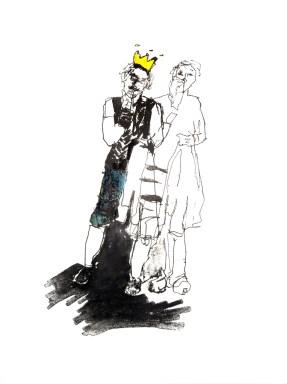 Der König?   2015   Lithografie coloriert auf Büttenpapier   50 x 39 cm