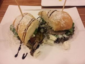 Ciabatta with Roast Beef and Gorgonzola cheese.