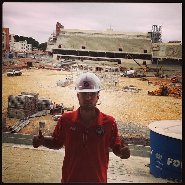 Além disso, Mérida também foi 'mestre de obras' para divulgar as obras da Arena.