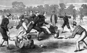 """""""Filho"""" do críquete e """"primo"""" do rúgbi, futebol e até futebol gaélico - nos primórdios as regras não eram muito padronizadas"""