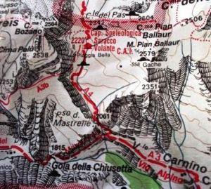 Mappa alpina del sistemo delle sorgenti del Tanaro nel Marguareis