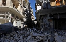 A general view shows destroyed buildings following shelling by regime forces on Syria's northern city of Aleppo on October 18, 2012. International peace envoy Lakhdar Brahimi called this week for a temporary ceasefire in Syria during the four-day Eid al-Adha holiday, which starts on October 26.  AFP PHOTO/TAUSEEF MUSTAFA        (Photo credit should read TAUSEEF MUSTAFA/AFP/Getty Images)
