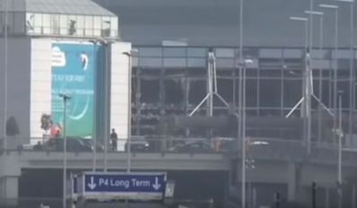 Aeroporto di Bruxelles. Vetrate infrante