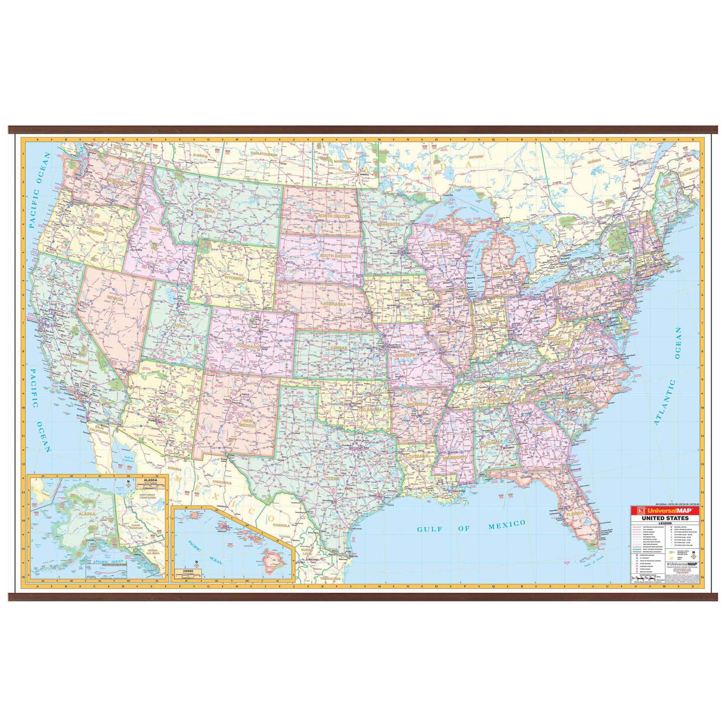 The national highway system includes the interstate highway system, which had a length of 46,876 miles as of 2006. Us Interstate Wall Map Shop United States Wall Maps