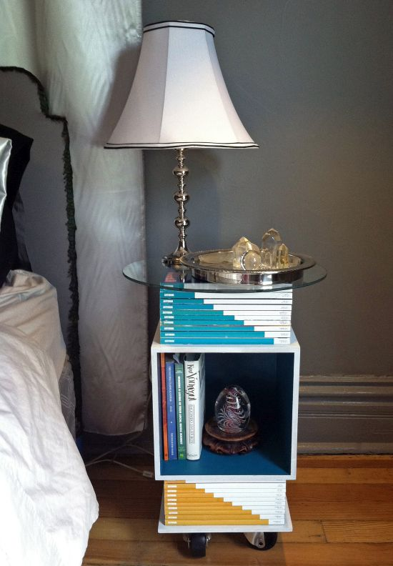 Artsy DIY nightstand idea with old magazines - NO.1# THE MOST BEAUTIFUL DIY BEDROOM NIGHTSTAND IDEAS