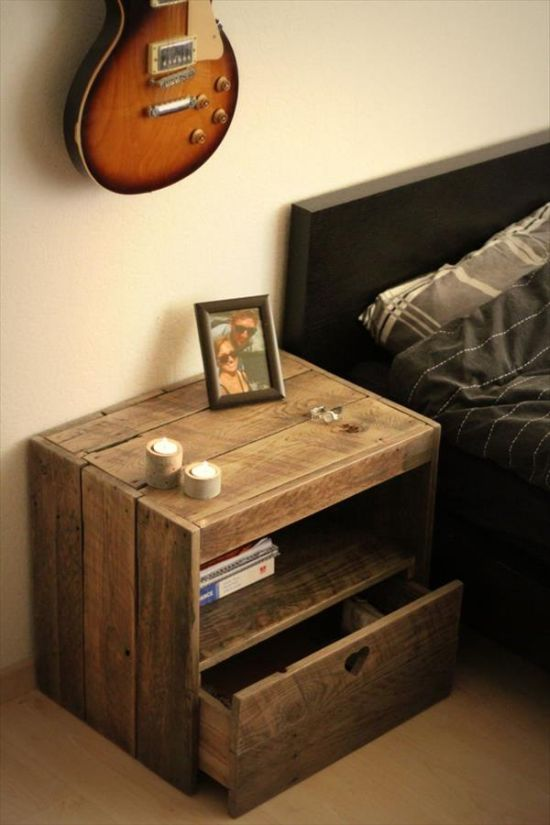 DIY nightstand pallet crate idea - NO.1# THE MOST BEAUTIFUL DIY BEDROOM NIGHTSTAND IDEAS