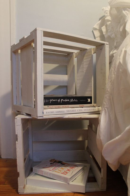 DIY vintage crates as nightstands - NO.1# THE MOST BEAUTIFUL DIY BEDROOM NIGHTSTAND IDEAS