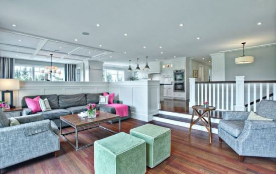 Chic sunken living room design with railing - NO.1# BEAUTIFUL SUNKEN LIVING ROOM DESIGN IDEAS