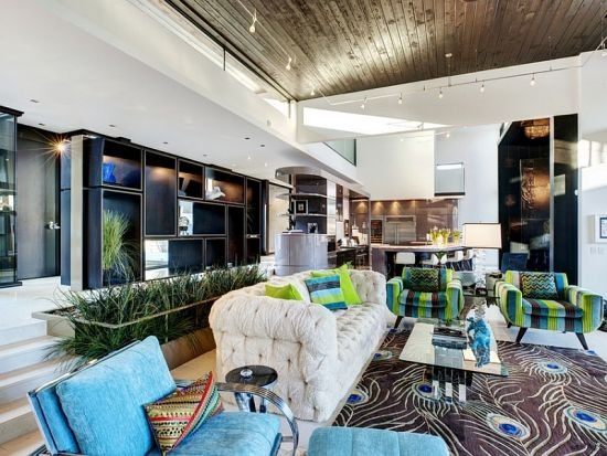 Eco friendly sunken living room design with green blue and white accents - NO.1# BEAUTIFUL SUNKEN LIVING ROOM DESIGN IDEAS