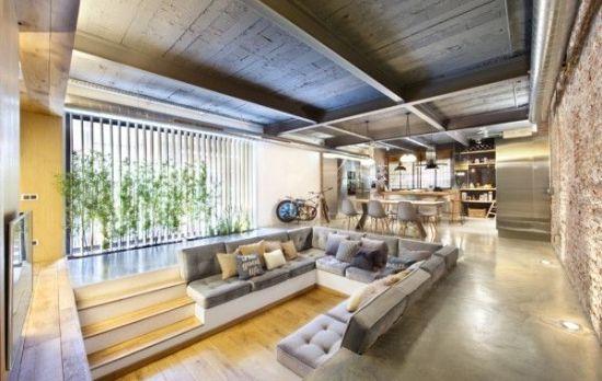 Industrial themed sunken living room design with rustic ceiling beams - NO.1# BEAUTIFUL SUNKEN LIVING ROOM DESIGN IDEAS