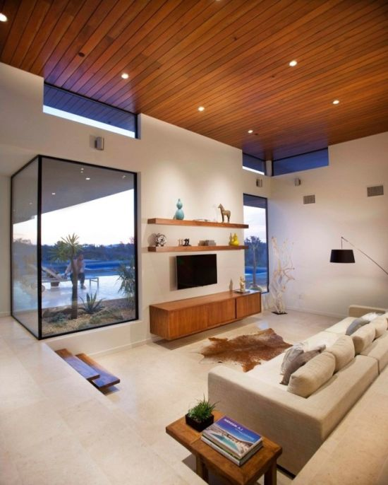 Minimalistic sunken living room design with glass box windows - NO.1# BEAUTIFUL SUNKEN LIVING ROOM DESIGN IDEAS