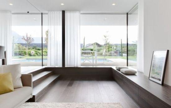 Simple sunken living room design with huge windows and hardwood floor - NO.1# BEAUTIFUL SUNKEN LIVING ROOM DESIGN IDEAS