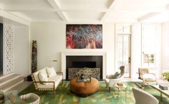 Sunken living room deisgn with mid century furniture and green handmade rug - NO.1# BEAUTIFUL SUNKEN LIVING ROOM DESIGN IDEAS