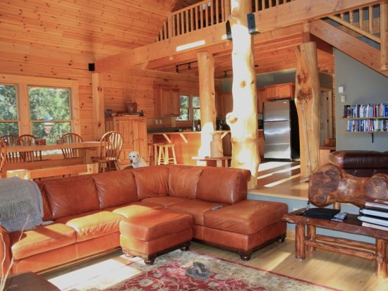 Sunken living room design with logs and leather - NO.1# BEAUTIFUL SUNKEN LIVING ROOM DESIGN IDEAS