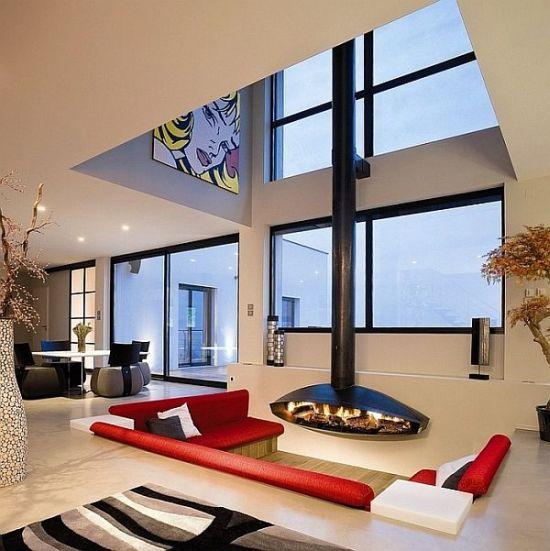 Sunken living room with fireplace made of raw steel - NO.1# BEAUTIFUL SUNKEN LIVING ROOM DESIGN IDEAS