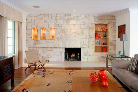 33 Stunning Accent Wall Ideas For Living Room Textured stone accent wall in trendy living room